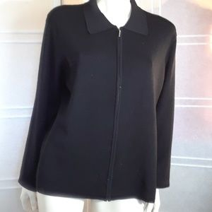 Norton zippered cardigan black collared  XL